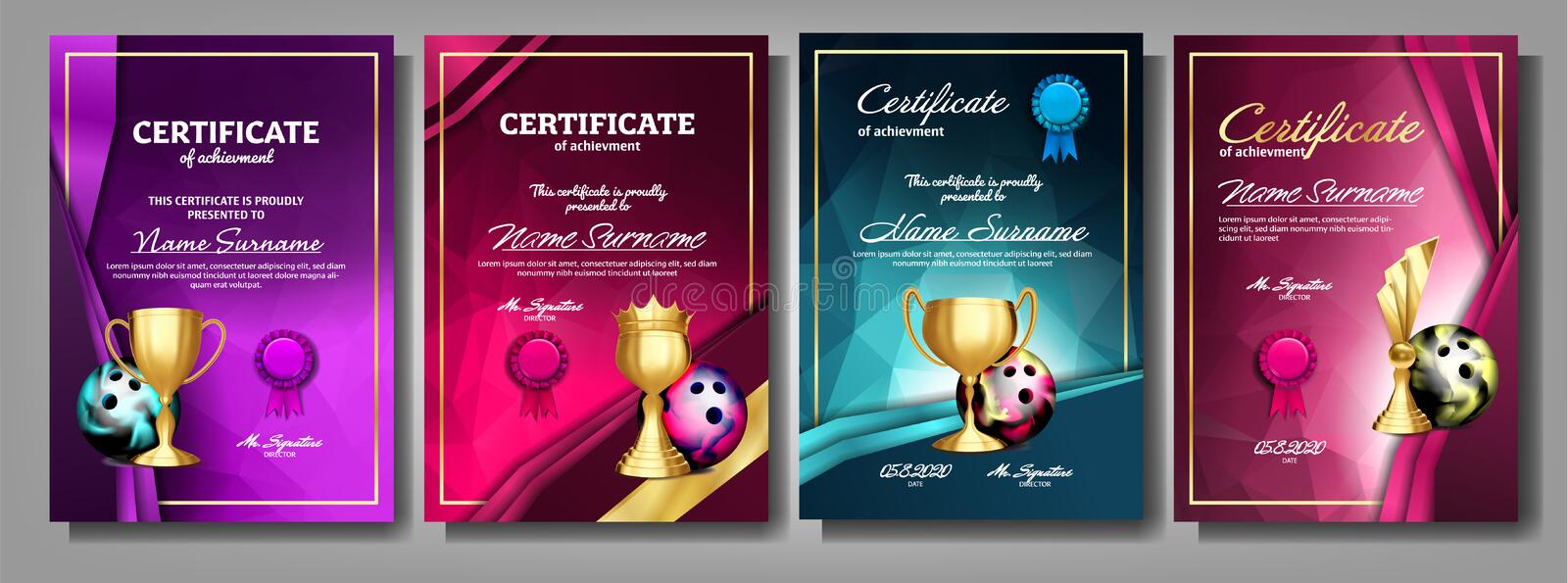 Bowling Game Certificate Diploma With Golden Cup Set Vector. Sport Award Template. Achievement Design. Honor Background. A4 Vertical. Graduation. Elegant vector illustration
