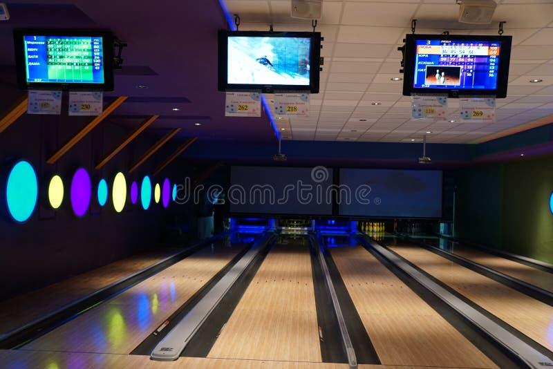 Bowling game hall bowling lanes royalty free stock photo
