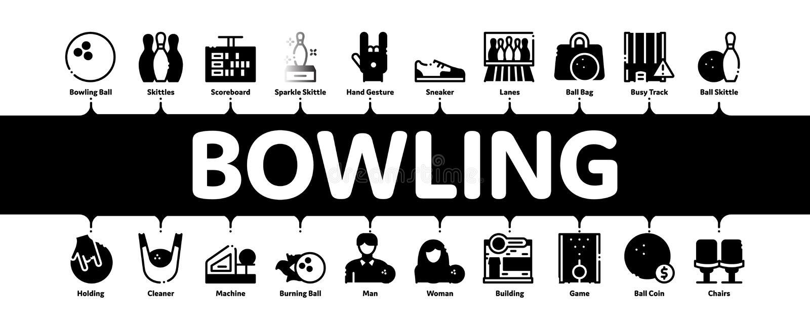 Bowling Game Tools Minimal Infographic Banner Vector stock illustration