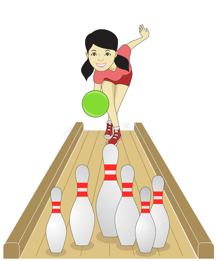 Bowling girl royalty free illustration