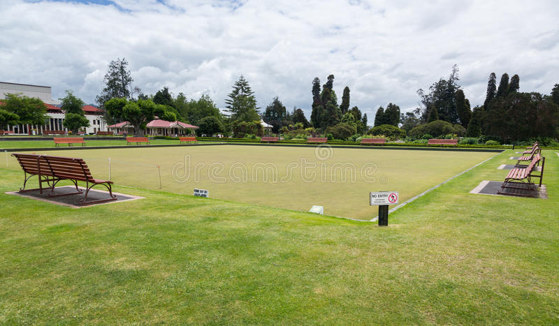 Bowling Green dans Rotorua en parc NZ de gouvernement photo stock
