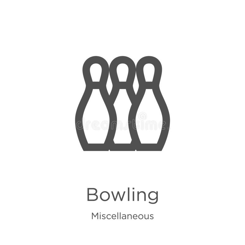 bowling icon vector from miscellaneous collection. Thin line bowling outline icon vector illustration. Outline, thin line bowling vector illustration