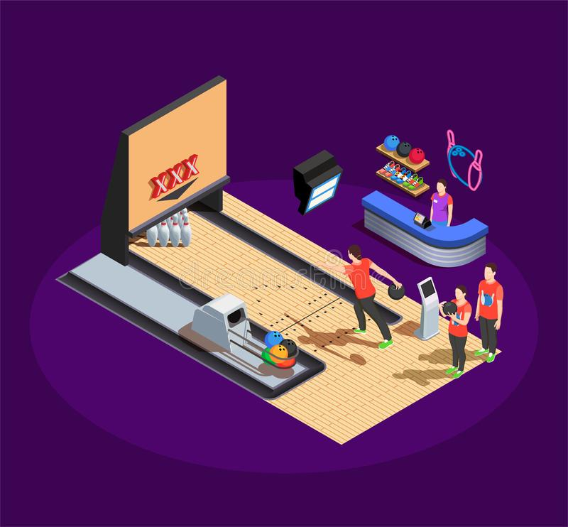 Bowling Isometric Composition vector illustration
