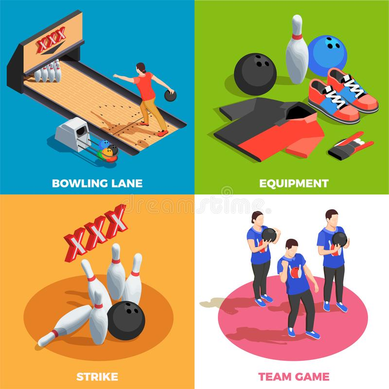 Bowling Isometric Design Concept royalty free illustration