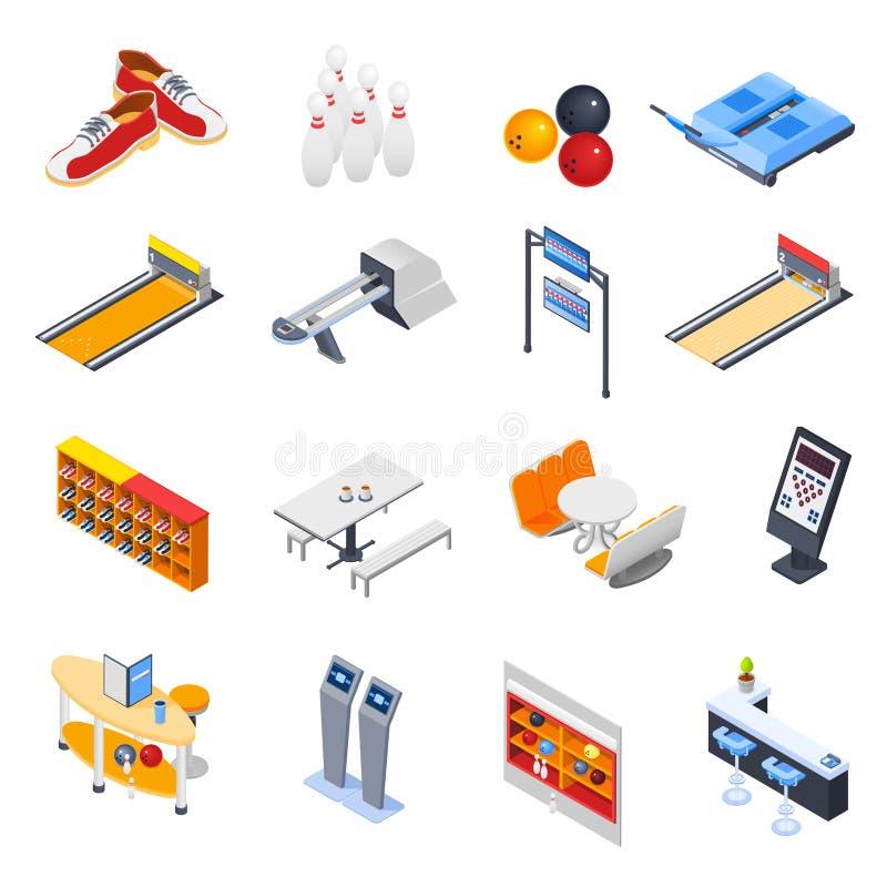 Bowling Isometric Icons royalty free illustration