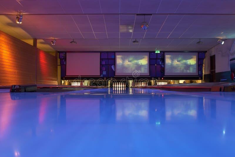 Bowling lanes. Image taken in a bowling center stock photos