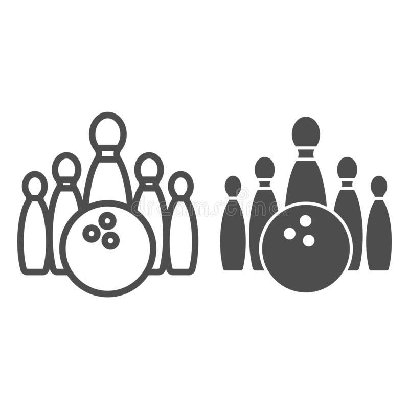 Bowling line and glyph icon. Bowling pin vector illustration isolated on white. Skittles outline style design, designed royalty free illustration