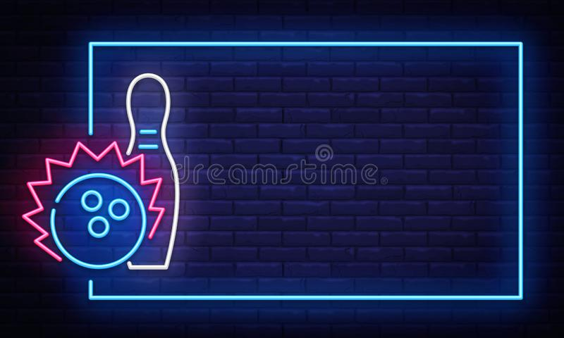 Bowling neon sign vector. Neon Frame Bowling Club Design template, light banner, night signboard, nightly bright. Advertising, light inscription. Vector stock illustration