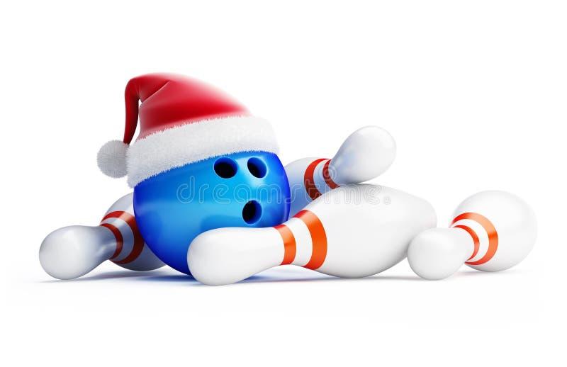 Bowling new year. Boungling new year santa hat