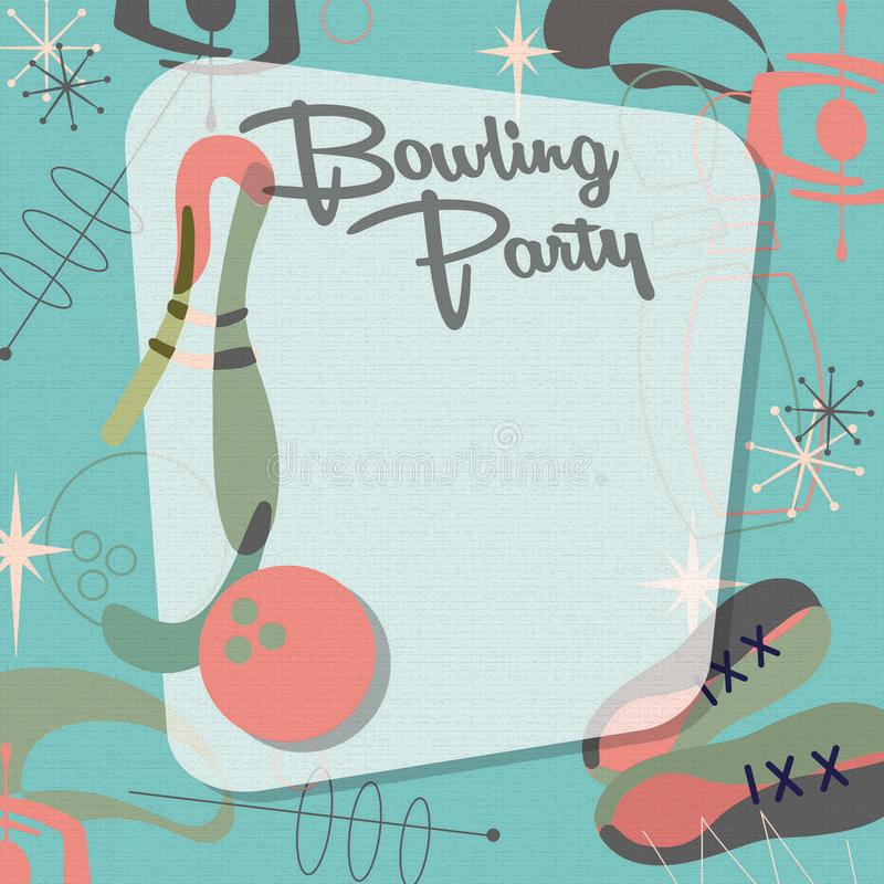 Bowling Party Invitation Mid Century Modern Cool Teal royalty free illustration
