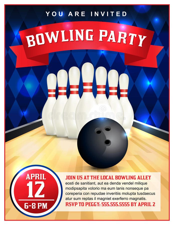 Bowling Party Flyer Template Illustration. A bowling party flyer template great for birthday parties, bowling leagues and tournaments. Layered vector EPS 10 vector illustration
