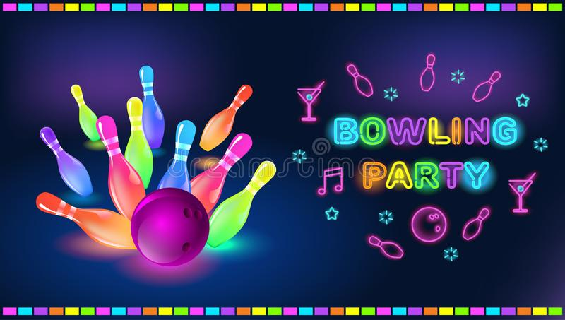 Bowling party template. Tv size banner. Vector clip art illustration vector illustration