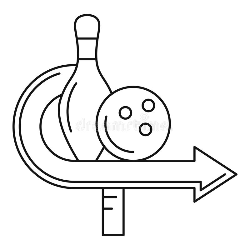 Bowling pin and ball icon, outline style royalty free illustration