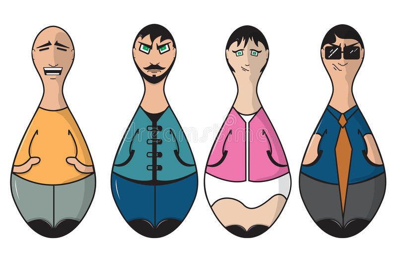 Bowling pin people royalty free illustration