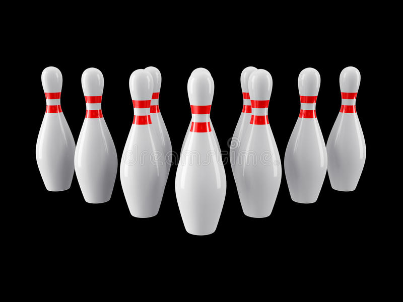 Bowling pins on black background. 3D rendering. Group of Bowling Pins Isolated on black background without shadow. 3D rendering. For logo, advertising, wallpaper stock photos