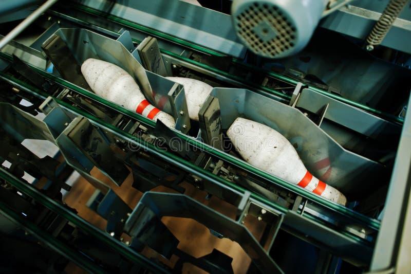 Bowling pins at bowling machine.  royalty free stock images
