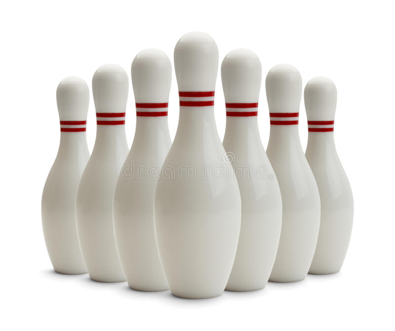 Bowling Pins. Group of Bowling Pins Isolated on White Background stock image