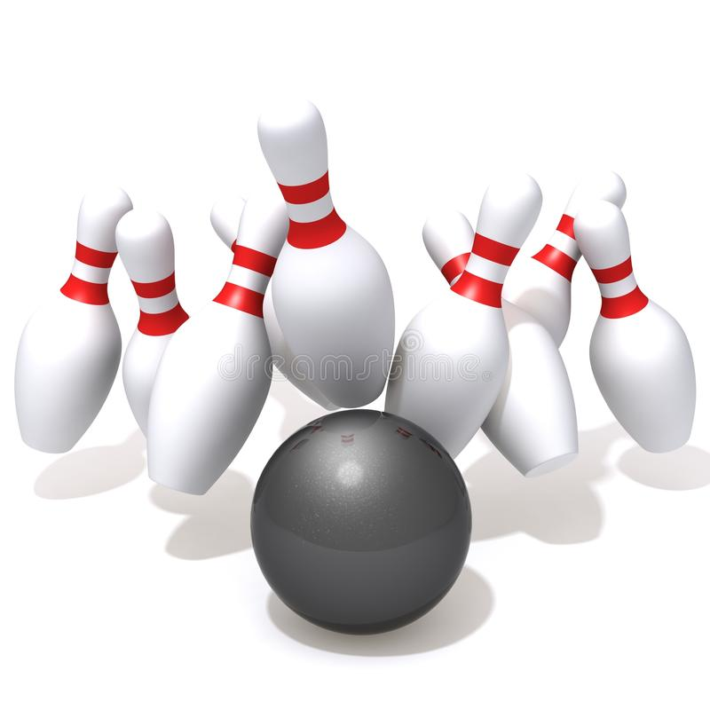 Free Bowling Pins Hit By Ball Stock Images - 47462014