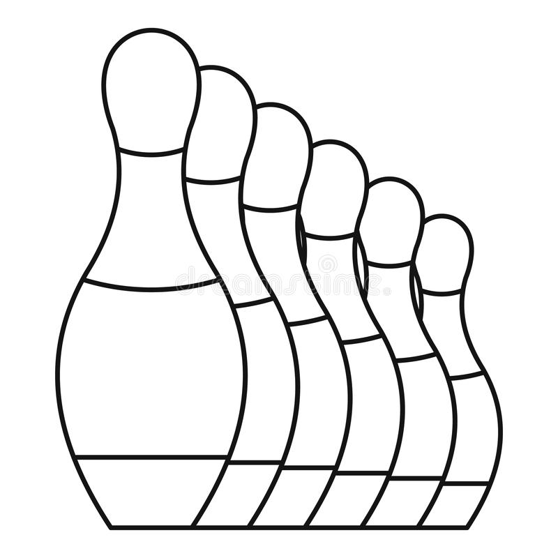 Bowling Set Pins Icon, Outline Style Stock Vector ...