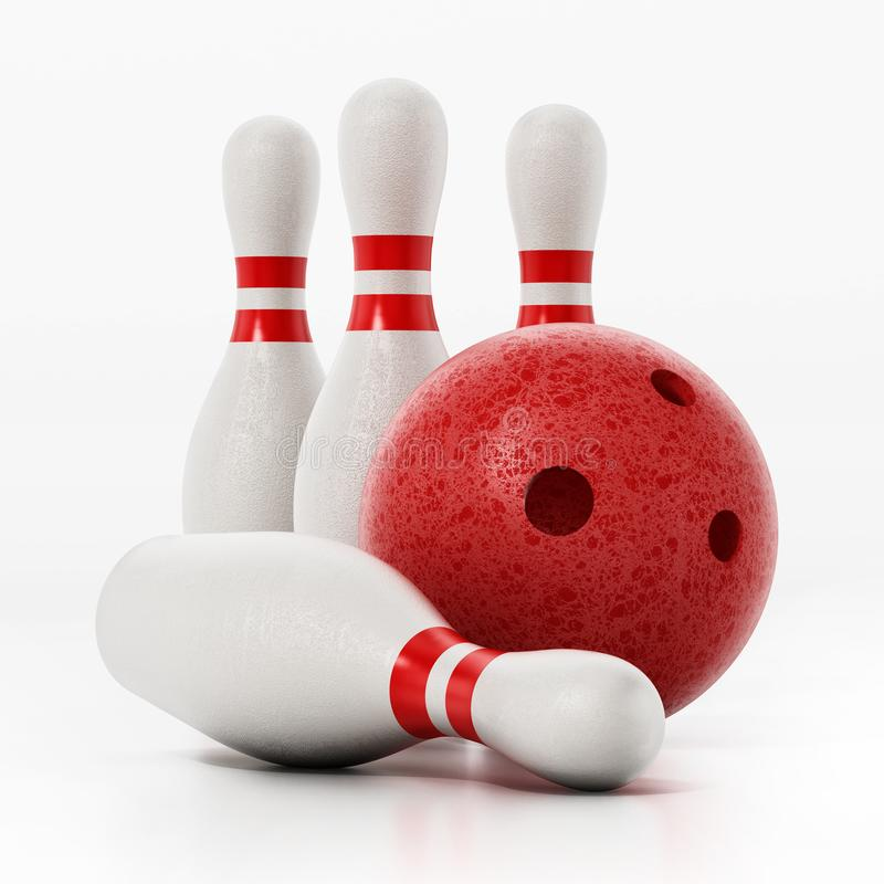 Bowling pins and red bowling ball isolated on white background. 3D illustration stock illustration