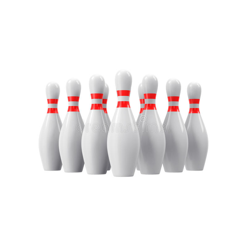 Bowling pins without shadow. 3D rendering. Bowling pins with perspective. For logo, wallpaper, print etc. 3D rendering stock photo