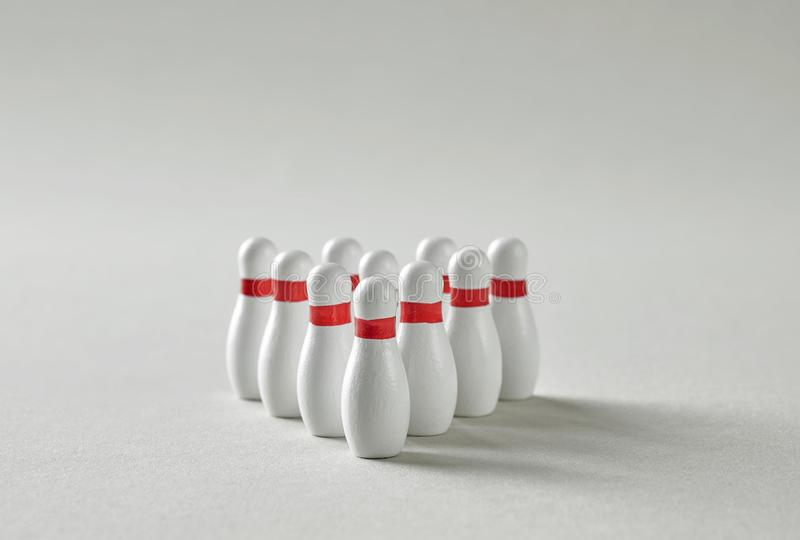 Bowling pins triangle stock photos