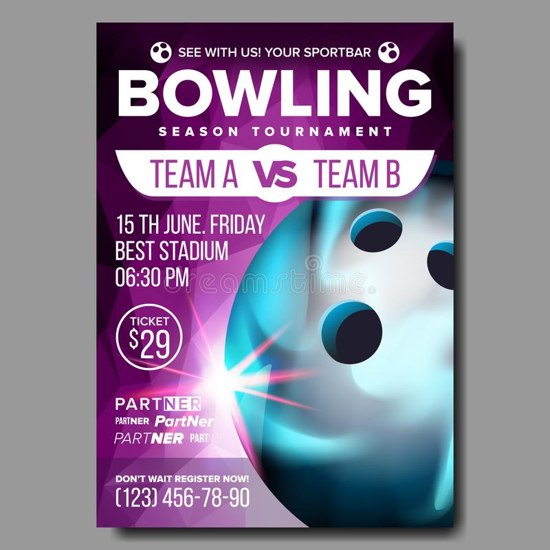 Bowling Poster Vector. Sport Event Announcement. Club Banner Advertising. Professional League. Vertical Sport Invitation. Bowling Poster Vector. Banner stock illustration
