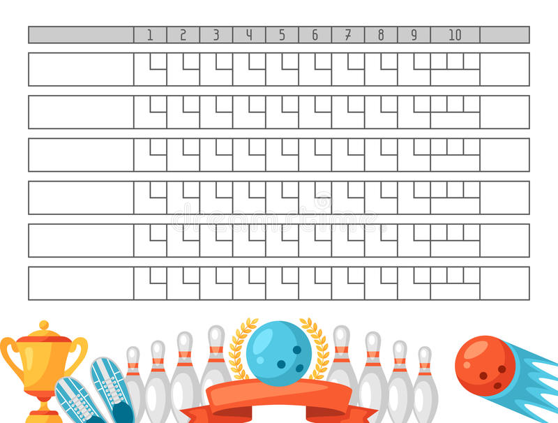 Bowling Score Sheet Blank Template Scoreboard With Game Objects