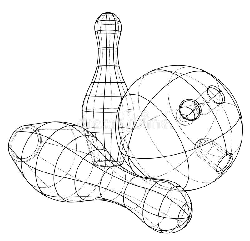 Bowling skittles and ball outline. Vector stock illustration