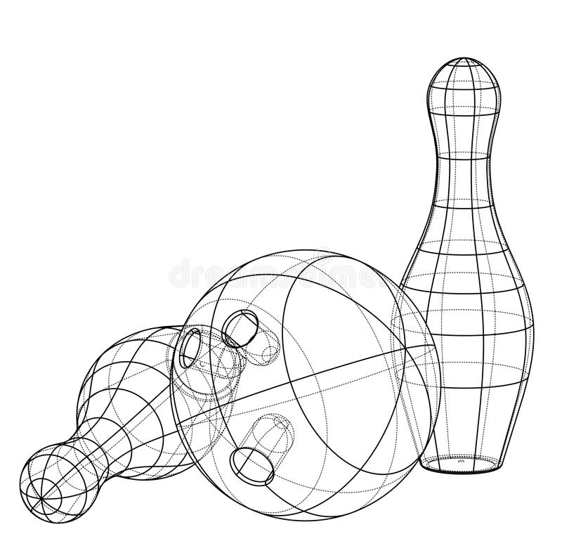 Bowling skittles and ball outline. Vector royalty free illustration