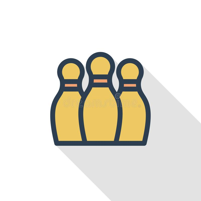 Bowling Skittles and ball thin line flat color icon. Linear vector symbol. Colorful long shadow design. stock illustration