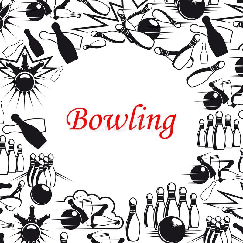 Bowling ball and pins poster for sport game design stock illustration