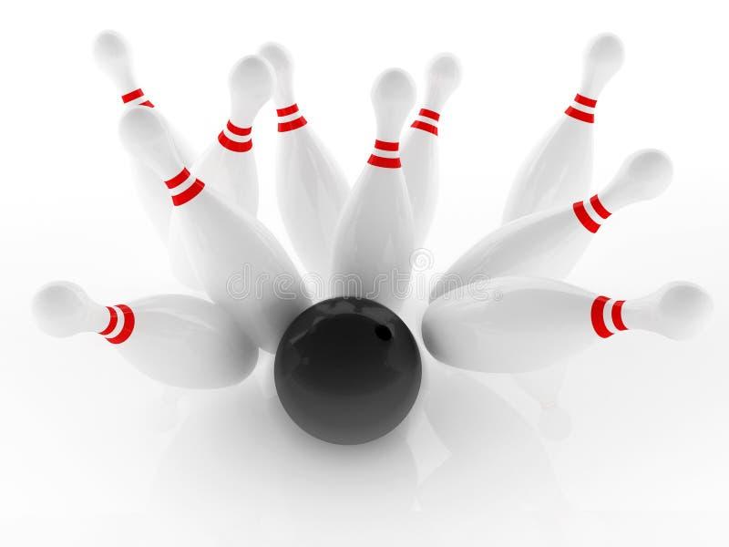 Bowling strike. Ten pin and black polished bowl to strike shot stock illustration