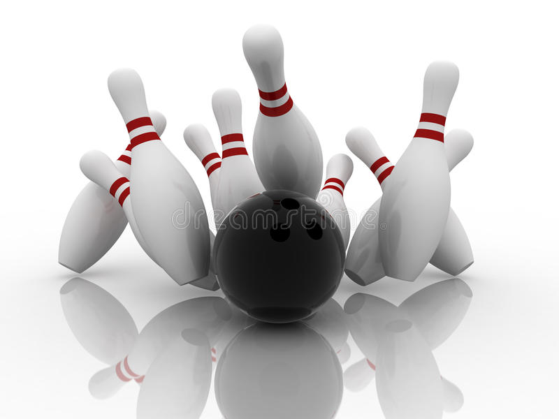 Bowling strike. Bowling ball strike shot into the pins stock illustration