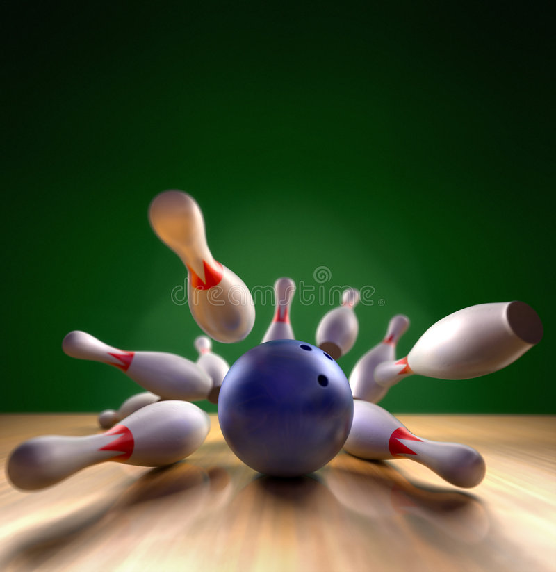 Free Bowling Strike Royalty Free Stock Photography - 7590017