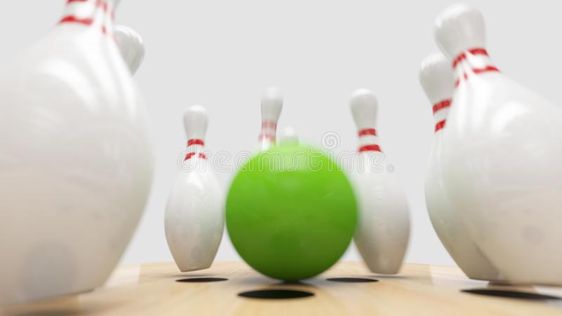 Bowling Strike. Clipping path included. Bowling strike, Green ball knocks down bowling pins stock photos