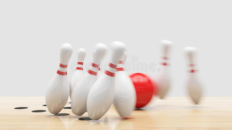 Bowling Strike. Clipping path included. Bowling strike, Red ball knocks down bowling pins royalty free stock photography