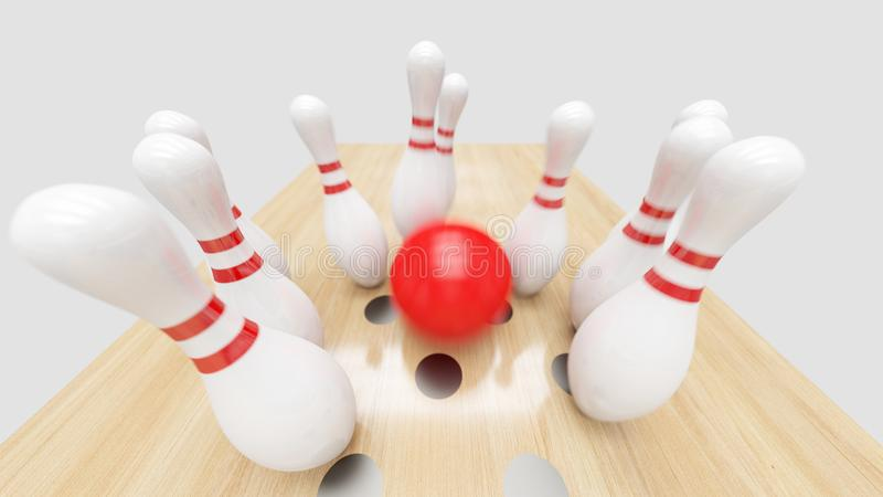 Bowling Strike. Clipping path included. Bowling strike, Red ball knocks down bowling pins stock images