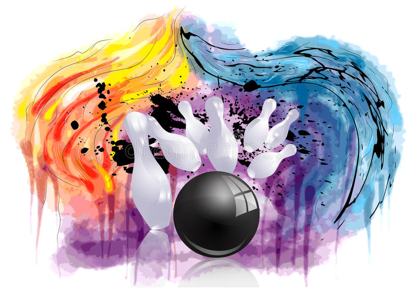 Bowling strike royalty free illustration