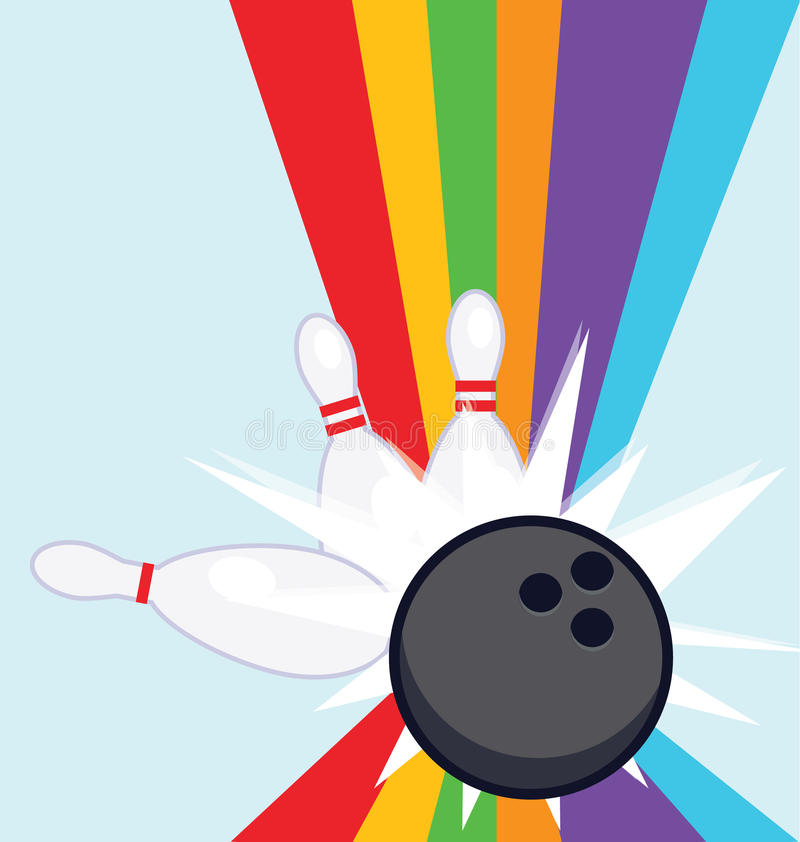 Download Bowling strike rainbow stock vector. Image of grunge - 20511988