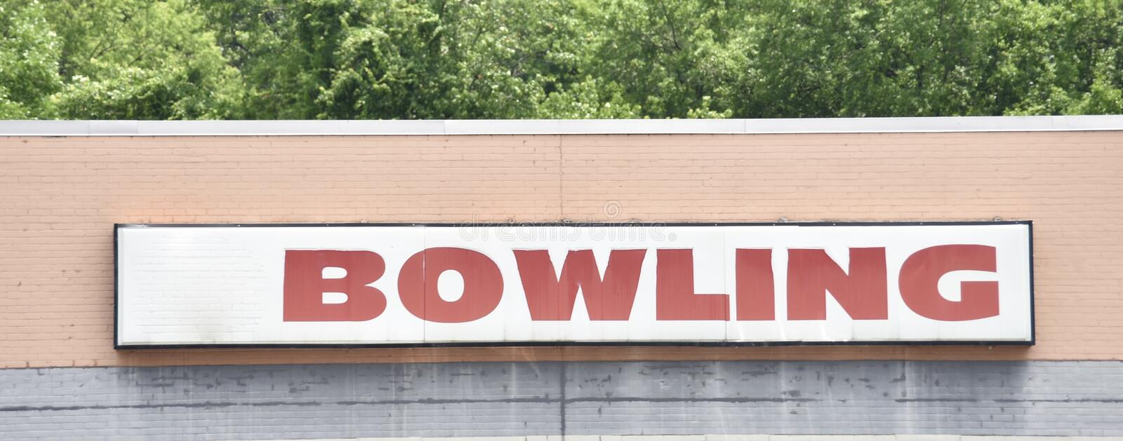 Bowling Lanes and Arcade Center. Bowling is a target sport and recreational activity in which a player rolls or throws a bowling ball toward pins in pin bowling royalty free stock photo
