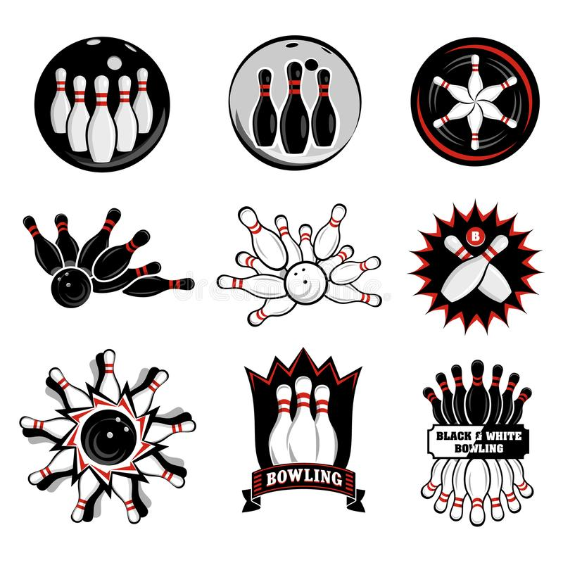 Bowling team or club emblems. For web and mobile device royalty free illustration