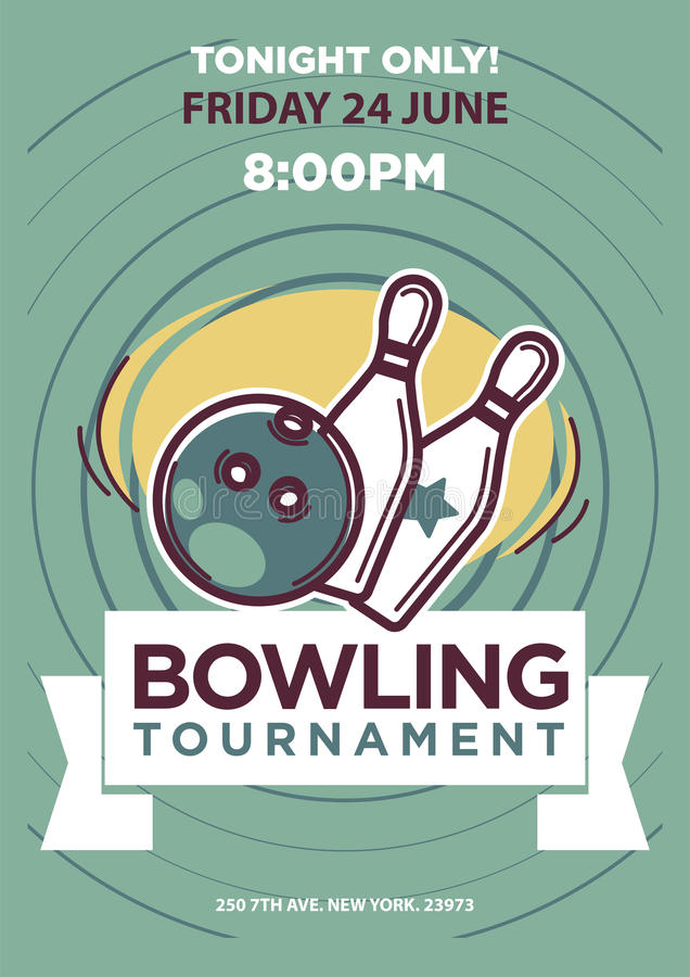 Bowling Tournament Poster Template Stock Vector Illustration of