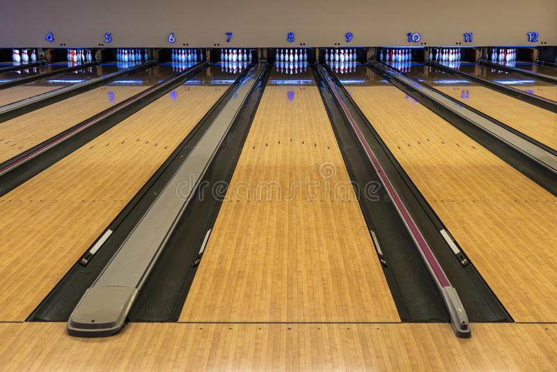Bowling track for game to play. Bowling lane on ready but nobody royalty free stock images