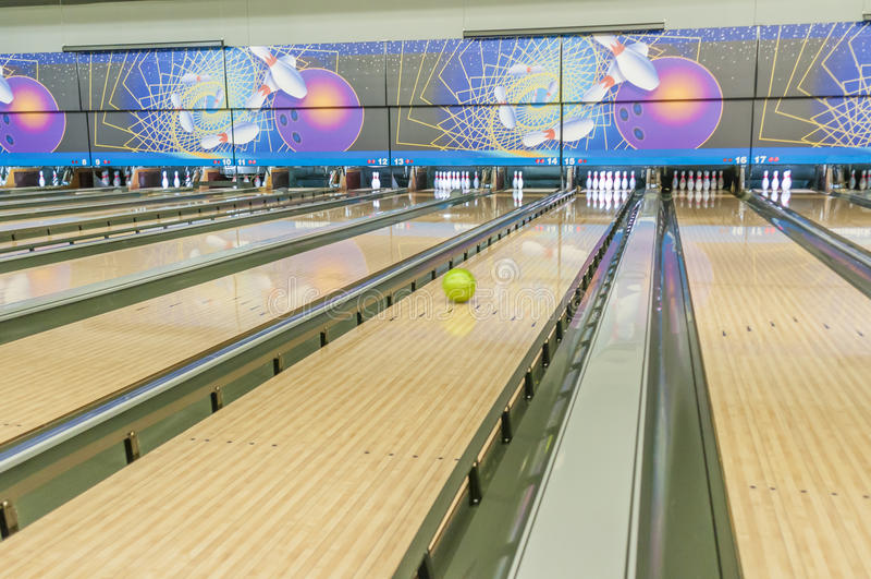 Bowlingbana arkivbild