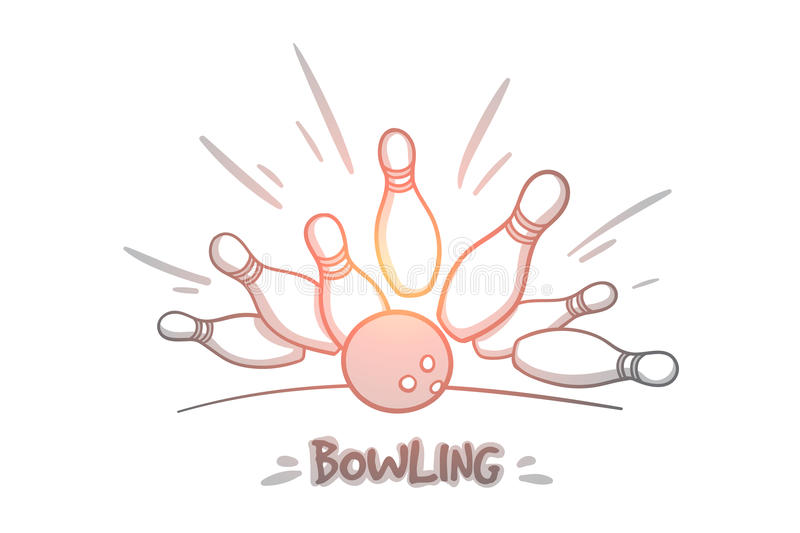 Bowlingbegrepp Hand dragen isolerad vektor stock illustrationer