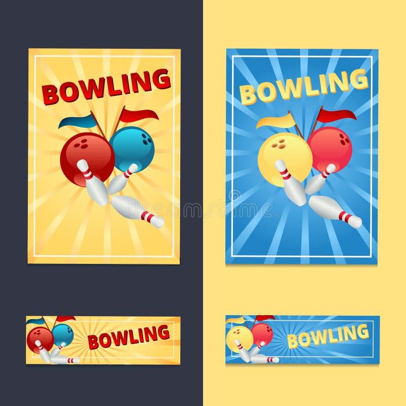 Bowlingklot och ben med flaggor på en guling- och blåttbackgroun stock illustrationer