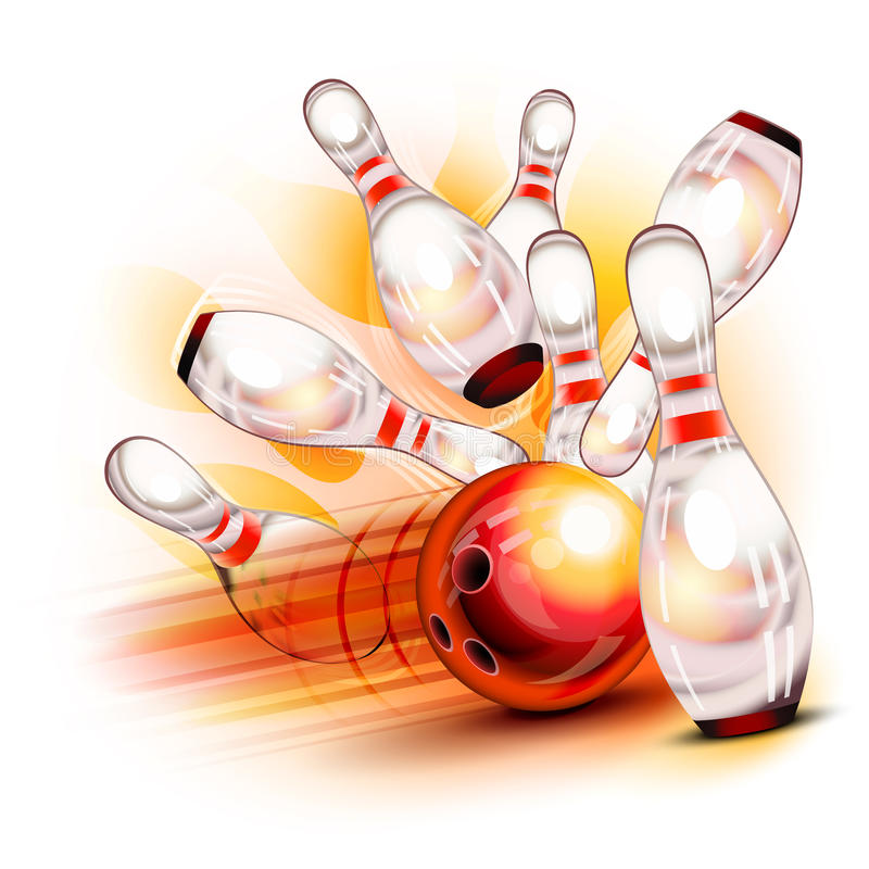 Bowlingkugel, die in die glänzenden Stifte abbricht lizenzfreie abbildung