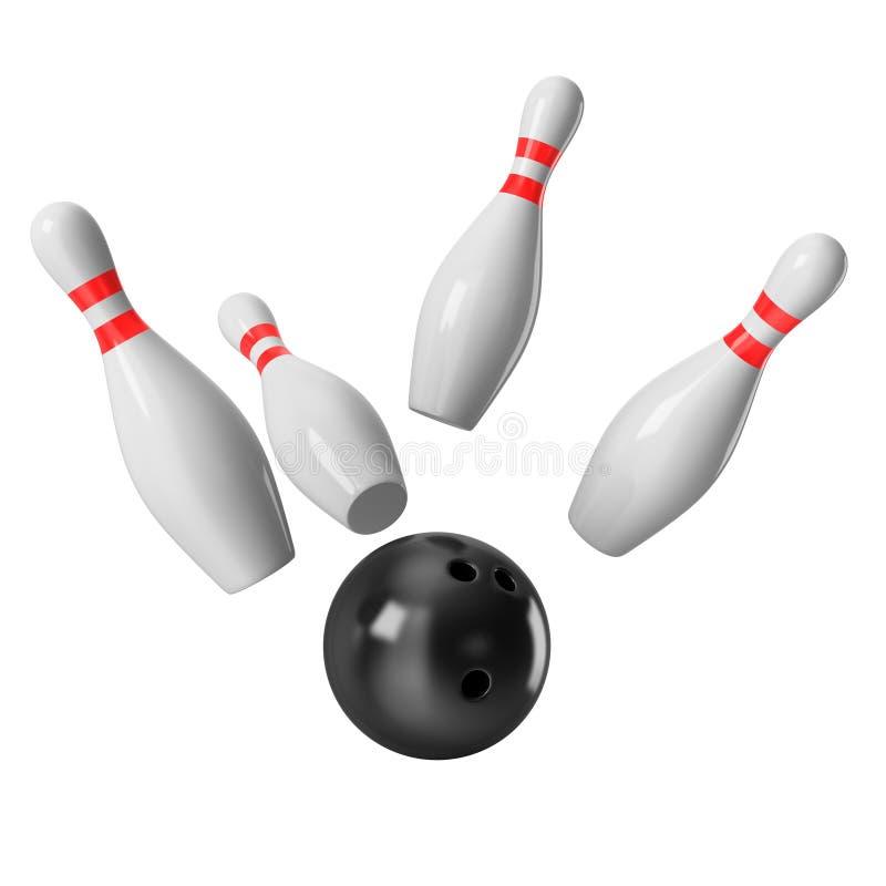 Bowlingkugel, die in die Stifte vom weißen Hintergrund zusammenstößt lizenzfreies stockfoto