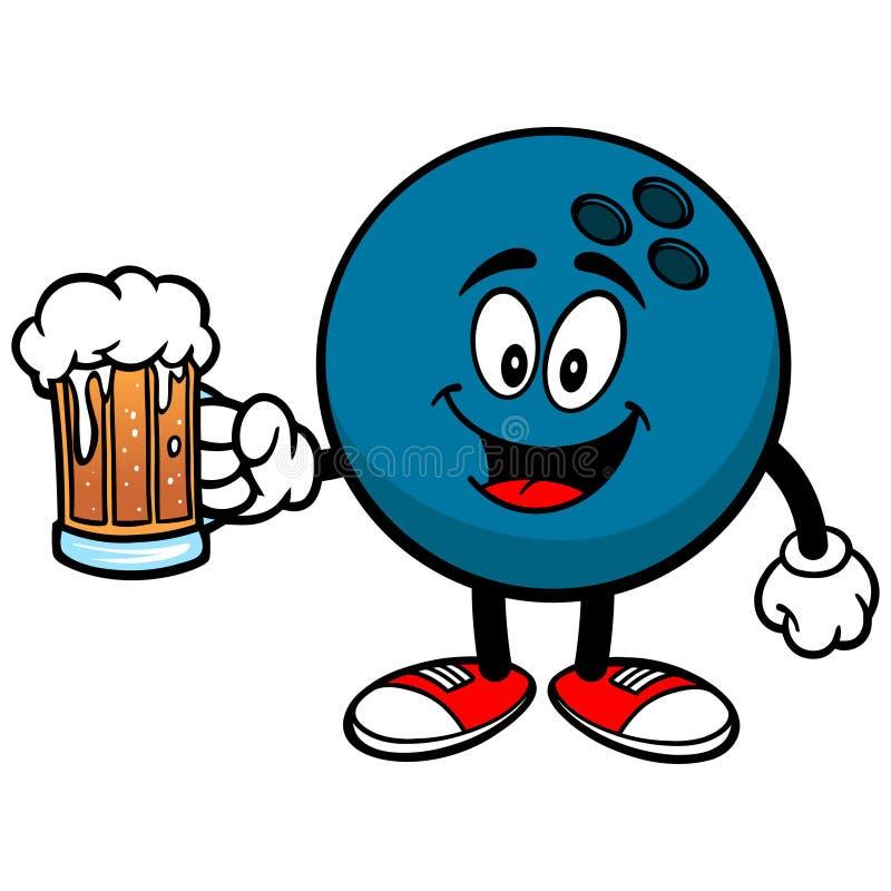 Bowlingkugel mit Bier lizenzfreie abbildung